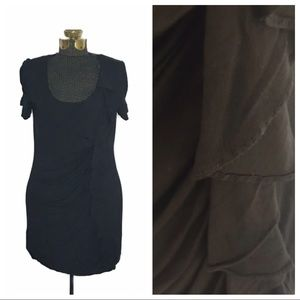 Bordeaux Black Knit Rayon Ruffled Dress E1